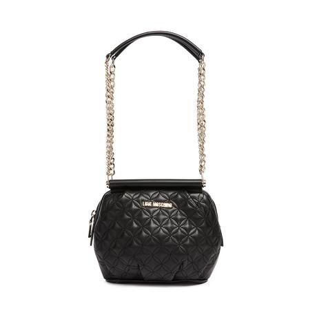Quilted Leather Shoulder Bag V5 // Black + Gold