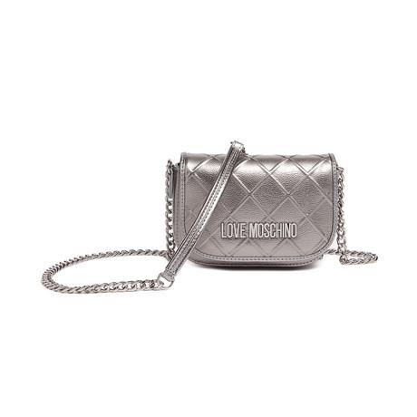 Embossed Metallic Shoulder Bag // Silver