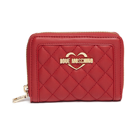 Quilted Leather Wallet // Red
