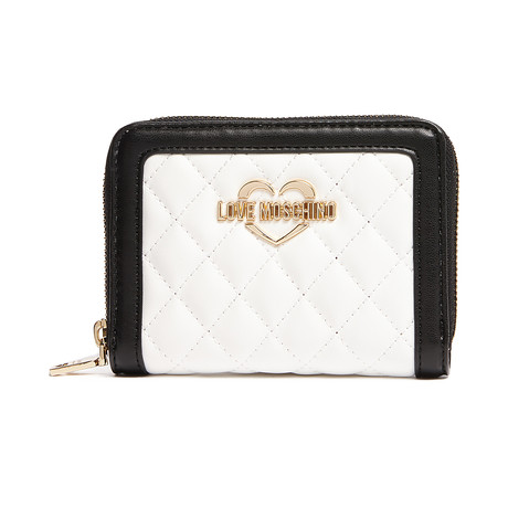 Quilted Leather Wallet // White + Brown + Black