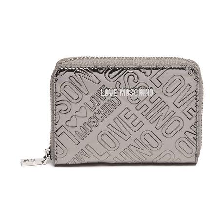 Metallic Embossed Logo Wallet // Silver + Gray