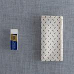 Bazaar Pocket Square // Cream + Blue Diagonal