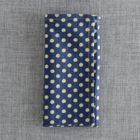 Sankaty Pocket Square // Navy Chambray + Blue Dot