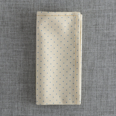 Salem Pocket Square // Cream + Light Blue Dot