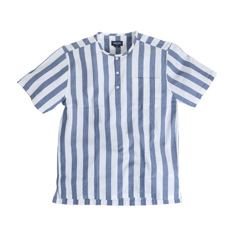 Tamariu // Indigo Blue + White Banker Stripes (Large (Athletic))