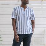 Tamariu // Indigo Blue + White Banker Stripes (Large (Athletic))