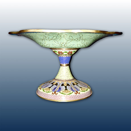 Cloisonné Chinese Compote // Qing Dynasty Style
