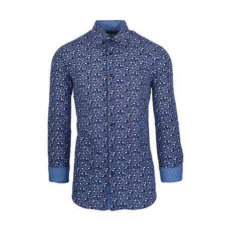 Hugo Casual Long-Sleeve Button-Down Shirt // Navy (S)