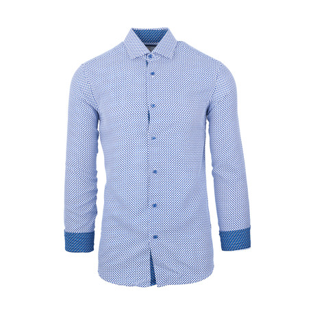 Alfredo Casual Long-Sleeve Button-Down Shirt // White + Blue (S)