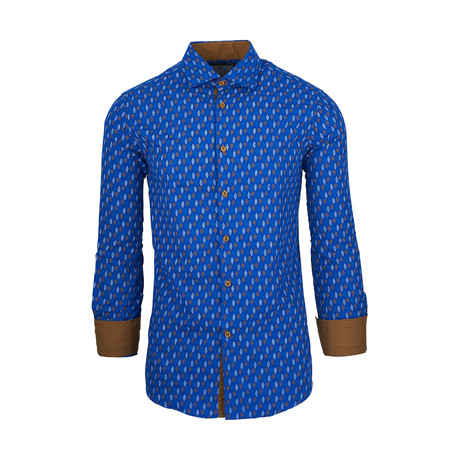 Elton Casual Long-Sleeve Button-Down Shirt // Royal (S)
