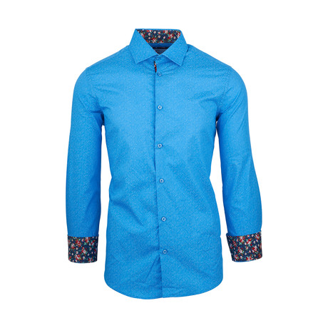 Mark Casual Long-Sleeve Button-Down Shirt // Blue (S)
