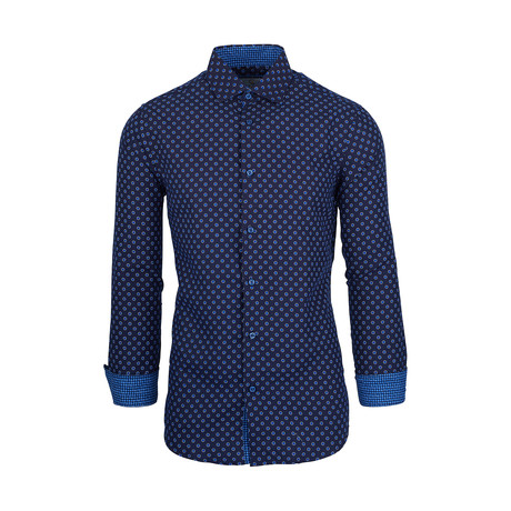 Billie Casual Long-Sleeve Button-Down Shirt // Royal (S)