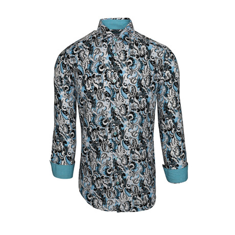 Lavern Casual Long-Sleeve Button-Down Shirt // Turquoise (S)