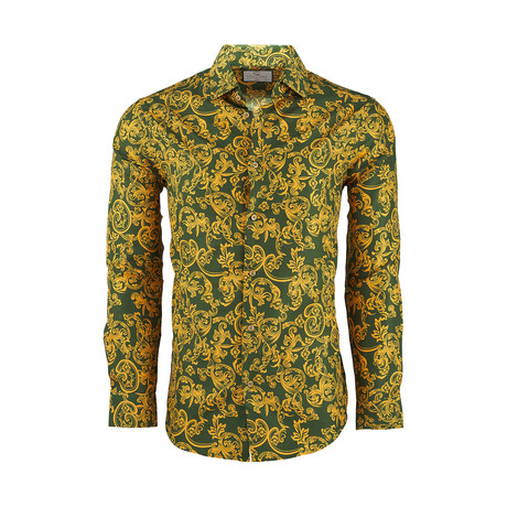 Anthony Casual Long-Sleeve Button-Down Shirt // Green (S)