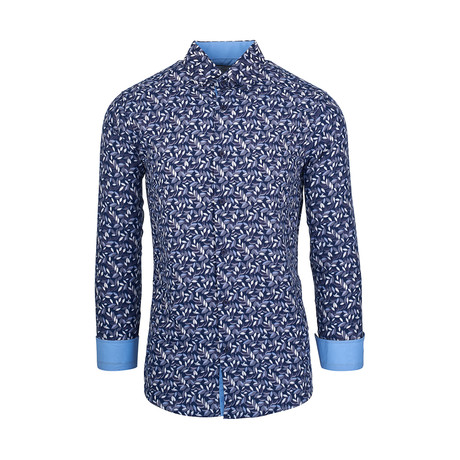 Willis Casual Long-Sleeve Button-Down Shirt // Blue (S)
