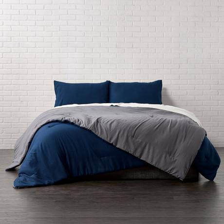 Reversible Brushed Microfiber Plush Down-Alt Comforter // Charcoal + Navy // 3 Piece Set (Twin)