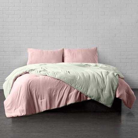 Reversible Brushed Microfiber Plush Down-Alt Comforter // Rose + Sage // 3 Piece Set (Twin)