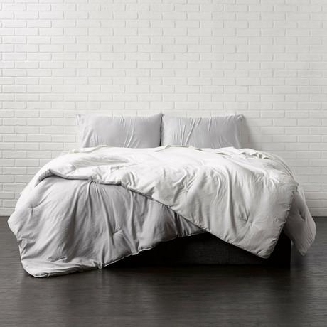 Reversible Brushed Microfiber Plush Down-Alt Comforter // White + Platinum // 3 Piece Set (Twin)