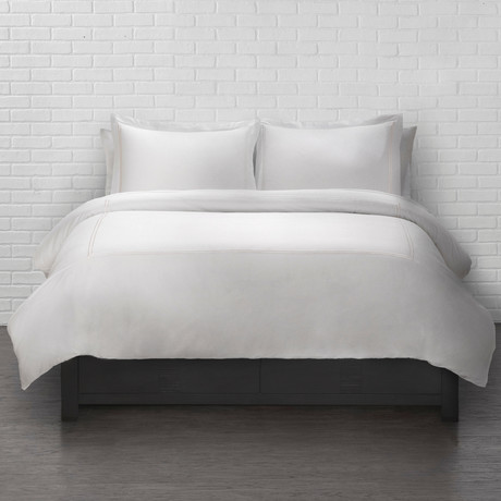 Duvet Set with White Satin Stitching // 3 Piece (Full/Queen)