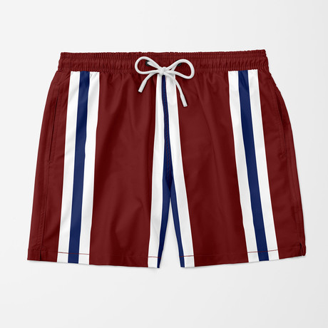 Vince Stripe Swim Trunks // Red (S)