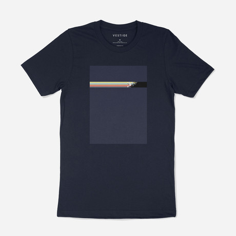 Pixel Stripe Box Tee // Navy (S)