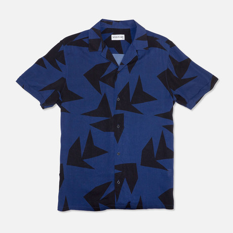 Triangle Jungle Camp Collar Shirt // Navy (S)