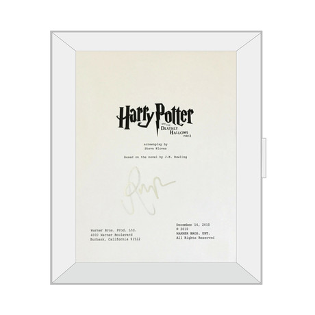 Framed Autographed Script // Harry Potter and The Deathly Hallows Part II