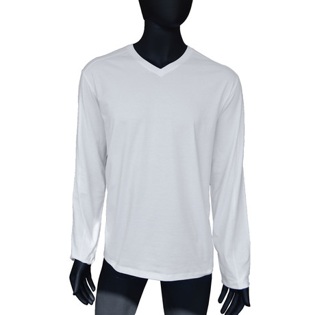 4-Way Stretch Long-Sleeve V-Neck // Bright White (S)