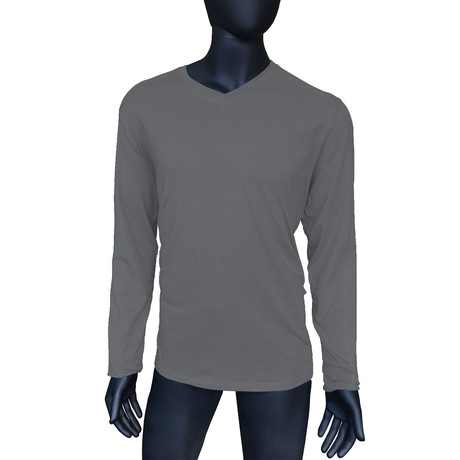 4-Way Stretch Long-Sleeve V-Neck // Medium Heather Grey (S)