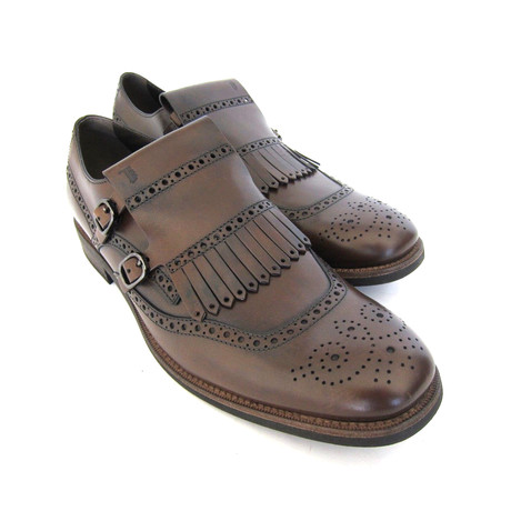 Frangia Fringe Double Buckle Shoes // Brown (UK: 7)