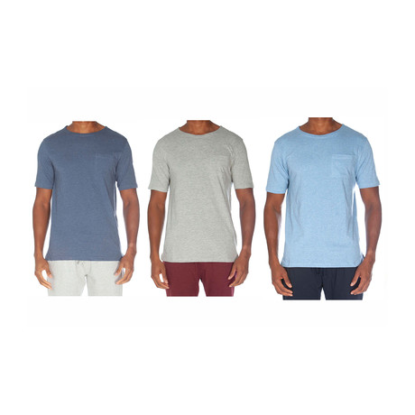 Super Soft Short Sleeve Tee // Blue + Light Gray + Light Blue // Pack of 3 (S)