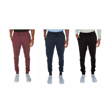 Supr Soft Cuffed Joggers // Cranberry + Navy + Black // Pack of 3 (S)