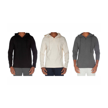 Super Soft Hoodie Henley // Black + Oatmeal + Dark Gray // Pack of 3 (S)