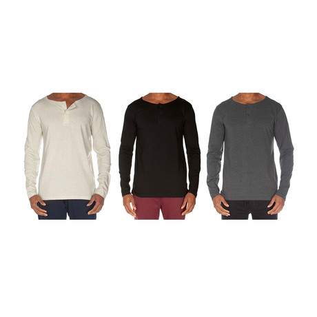 Super Soft Two-Button Henley // Oatmeal + Black + Dark Gray // Pack of 3 (S)