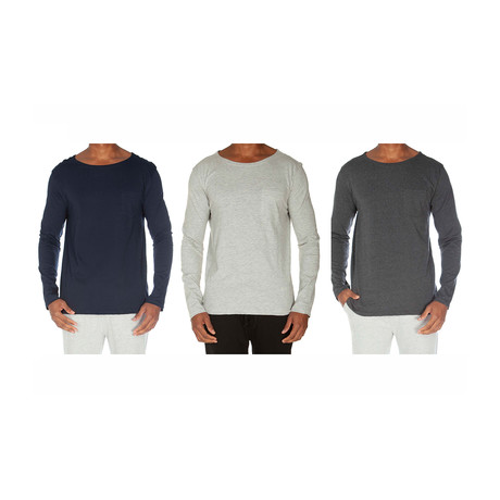 Super Soft Long Sleeve Pocket Tee // Navy + Light Gray + Dark Gray // Pack of 3 (S)