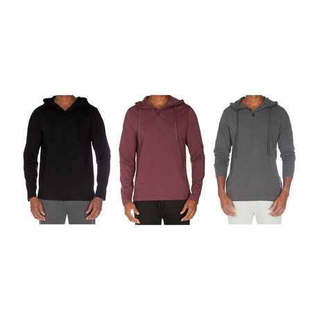 Super Soft Hoodie Henley III // Black + Cranberry + Dark Gray // Pack of 3 (S)