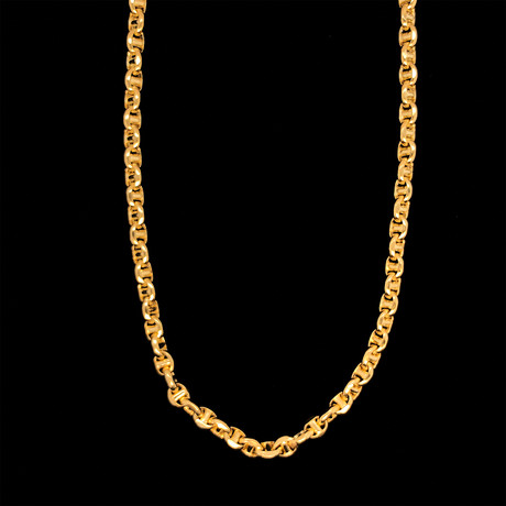 """14K Solid Gold Oval Mariner Chain Necklace // 4.5mm (18"""")"""
