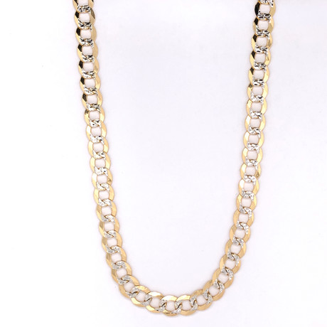 10K Two-Tone Gold Cuban Chain Necklace // 7mm // 22""