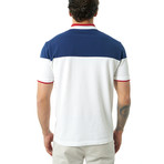 Two-Tone Short Sleeve Polo // White + Navy (M)
