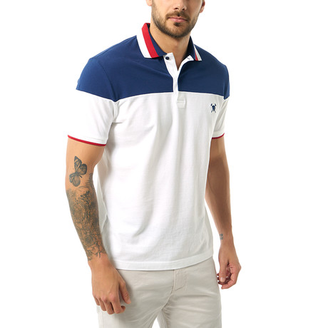 Two-Tone Short Sleeve Polo // White + Navy (S)