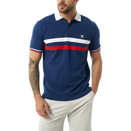 Two-Stripe Short Sleeve Polo // Navy (XS)