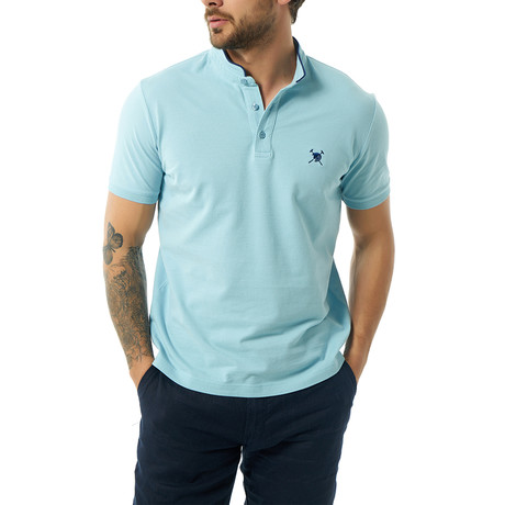 Collarless Short Sleeve Polo // Baby Blue (S)
