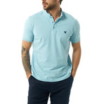 Collarless Short Sleeve Polo // Baby Blue (3XL)