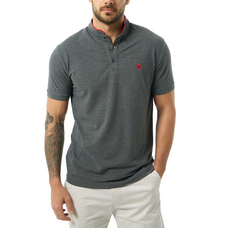 Collarless Short Sleeve Polo // Anthracite (S)