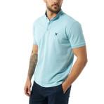 Collarless Short Sleeve Polo // Baby Blue (XL)