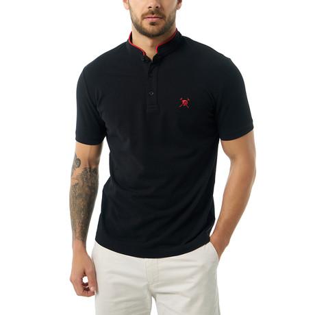 Collarless Short Sleeve Polo // Black (S)