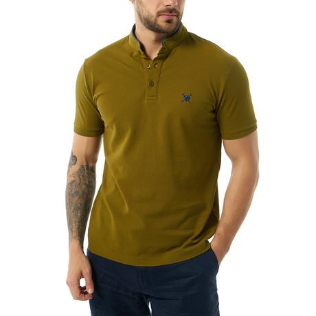 Collarless Short Sleeve Polo // Khaki (XS)