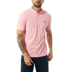 Collarless Short Sleeve Polo // Pink (S)