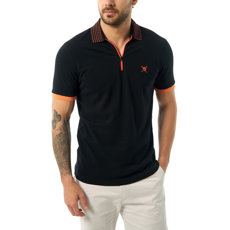 Stripe Collar Zip-Up Short Sleeve Polo // Black (S)
