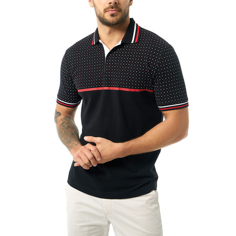 Dual Pattern Short Sleeve Polo // Black (S)